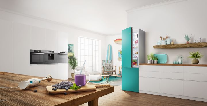 BOSCH Vario Style獨立式冰箱推出可換面板顏色的選項。(圖.BOSCH  提供)