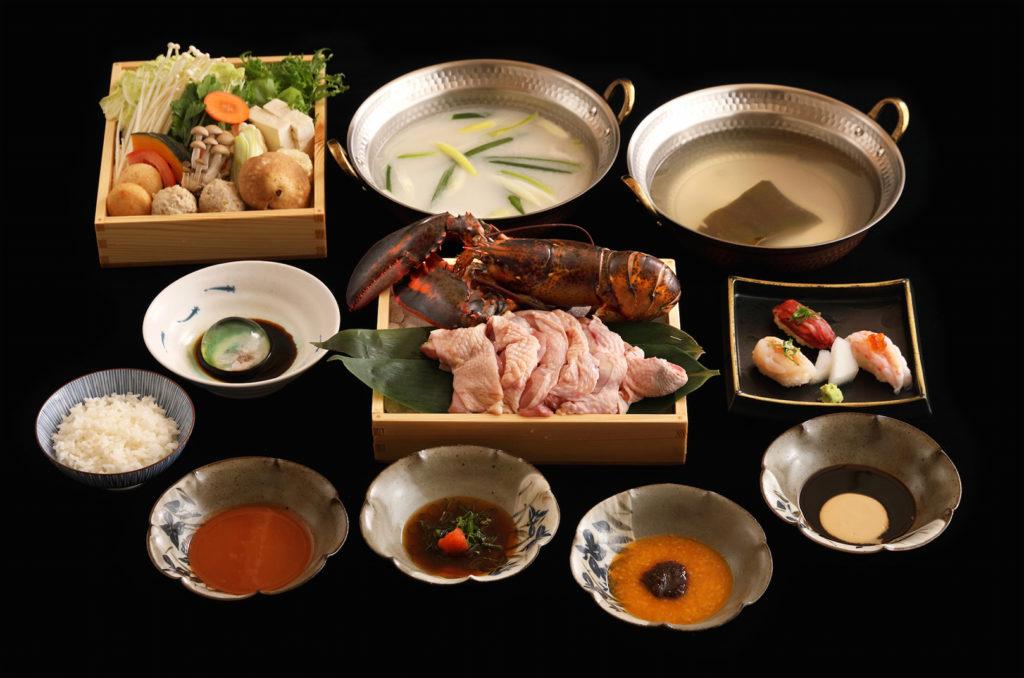 水炊軒雙人套餐,主食為桂丁雞與波士頓活龍蝦。(圖.水炊軒提供)
