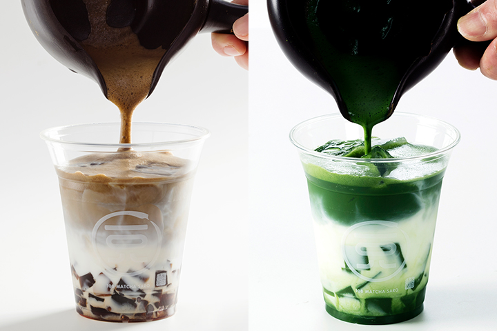 右為黑糖果凍焙茶拿鐵,左為抹茶果凍拿鐵。  (圖.一○八抹茶茶廊提供)