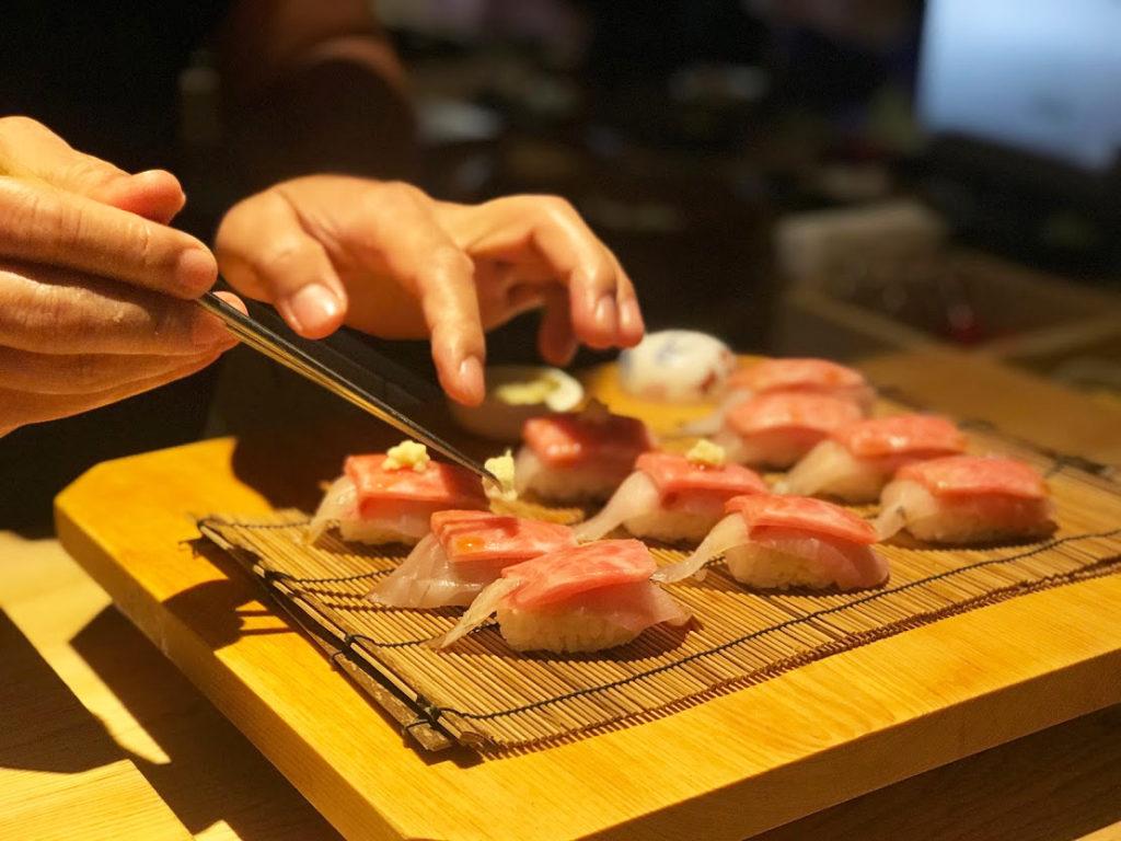 白魽與黑鮪魚握壽司。 (圖‧Sid提供)