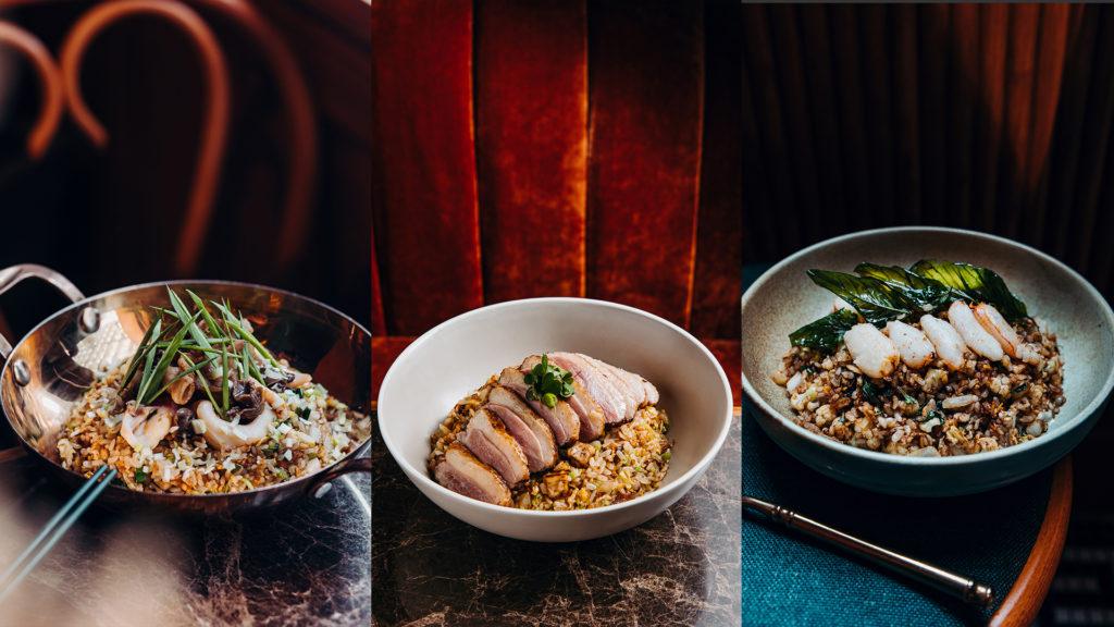 左起為魷魚螺肉蒜炒飯、 芋泥香酥鴨炒飯、沙茶塔香蟹肉炒飯。(圖.心潮飯店提供)
