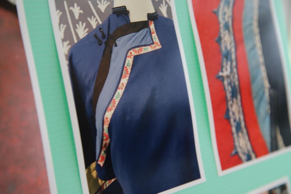 透過古老的客家藍衫,目前已收集到十多種美麗繁複的客家織帶圖紋,除了可裝飾在衣服上,也可做成鑰匙圈或手機背帶等日常用品。( 圖.妮可魯)