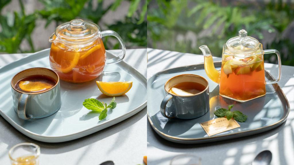左為冬日晨曦香料橙柚水果茶,右為向陽島嶼蘋香伯爵水果茶。(圖.P&T柏林茶館提供)