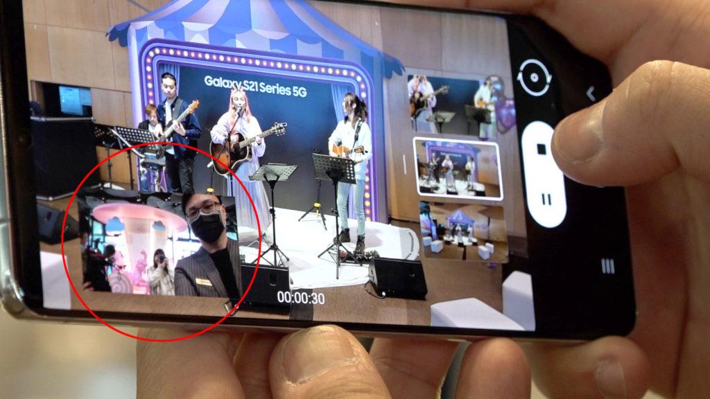 「直播錄影模式」是同時啟動前後鏡頭一起錄影。(圖.張家銘)