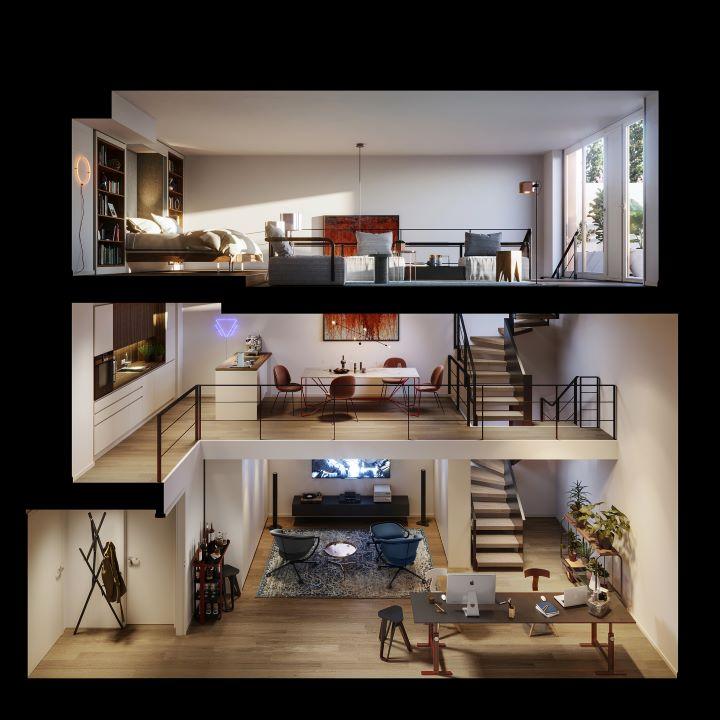 不同樓層區分不同的使用機能,營造垂直的生活型態。(圖.UN Studio 提供)