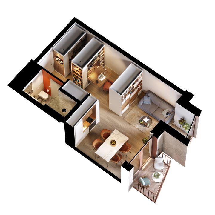圖書館層架可移動式隔屏,讓全新的生活空間有豐富的變化性。(圖.UN Studio 提供)