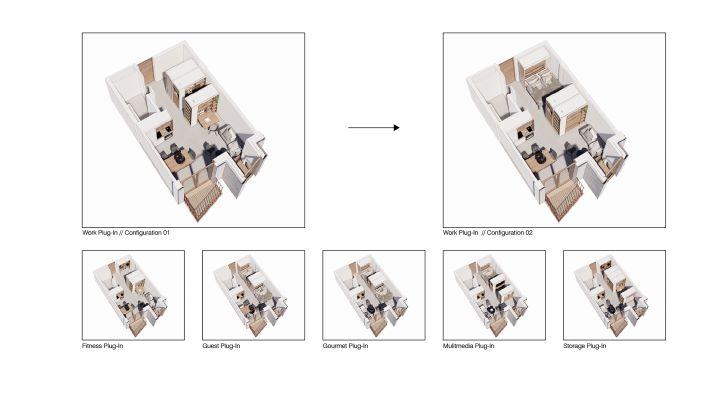 將隔間改為移動式的形式,讓後疫時代的生活空間獲得解放。(圖.UN Studio 提供)