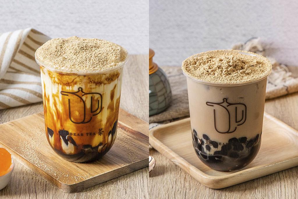 左為金沙奶皇麵麵茶鮮奶(90元),右為珍珠烏龍麵麵茶(80元)。(圖.迪茶提供)