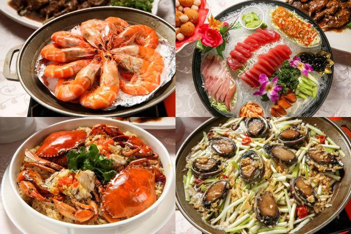 大蝦、紅蟳螃蟹、生魚片、烏魚子、鮑魚...等,豐盛的海鮮料理更是國人喜宴的最愛。(圖.蔡暉宏 攝影)