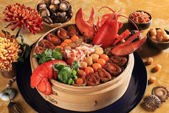 充滿視覺張力且食材豐盛的「龍騰躍八仙」。(圖.台南晶英酒店 提供)