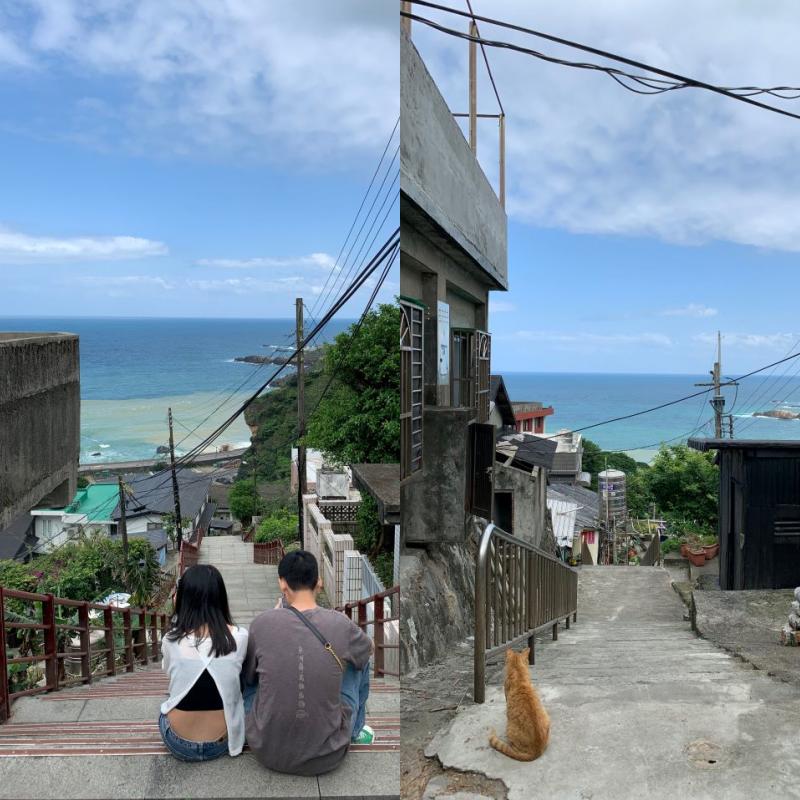 沿著水湳洞山城的階梯向上返回眺望陰陽海,宛如日本電影「你的名子」的場景。(圖.Jimmy 攝影)
