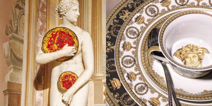 從希臘古典神話女神梅杜莎頭像為品牌標章的Versace,餐瓷作品展現繽紛華麗的戲劇性。( 圖.居禮名店 提供)
