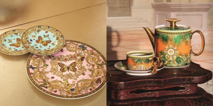 華麗繽紛的圖騰和對比撞色的大膽用色,Versace成為餐桌上最吸睛的焦點。( 圖.居禮名店 提供)