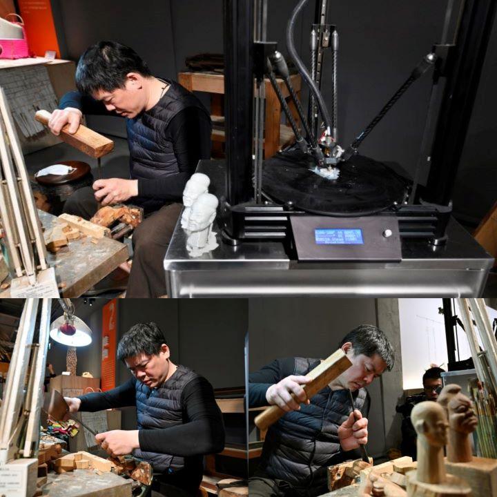 現場邀請布袋戲木偶工藝師,與3D列印的木偶頭,產生彼此的對話關係。(圖.陳思明 攝影)